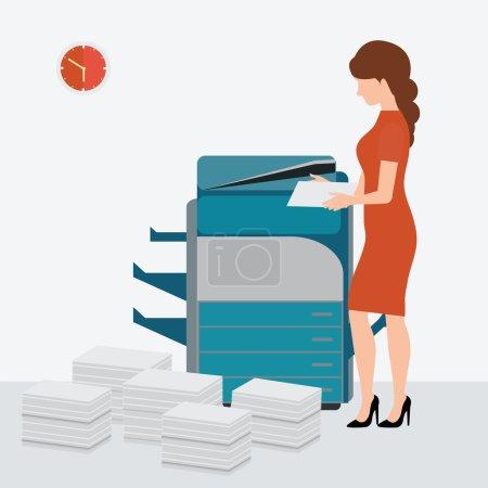 Business woman using copy print machine.