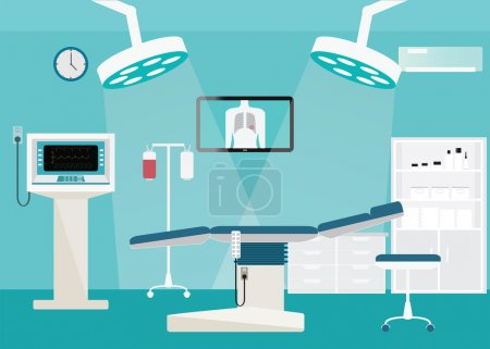 Illustration for Medical hospital surgery operation room interior at the hospital with medical equipment , vector illustration. - Royalty Free Image