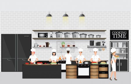 Illustration for Chefs cooking at the table in restaurant kitchen interior with kitchen shelves and cooking utensils, equipment on counter with bricks patterned background, vector illustration. - Royalty Free Image