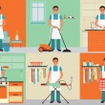 Постер, плакат: House husband cleaning