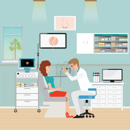 Medical otolaryngologist ear nose throat doctor rinsing nose at