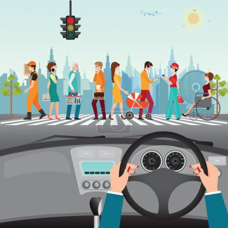 Illustration for Human hands driving a car on asphalt road with people walking on the crosswalk, car interior, flat design vector illustration. - Royalty Free Image