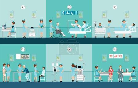 Illustration pour Infirmière soins de santé icônes décoratives réglées avec des patients ayant besoin d'aide médicale, illustration vectorielle dessin animé personnage plat . - image libre de droit