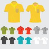 Set of templates colored polo shirts for man and women