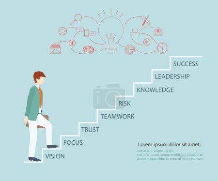 Illustration pour Un homme d'affaires monte les escaliers pour réussir, illustration vectorielle . - image libre de droit