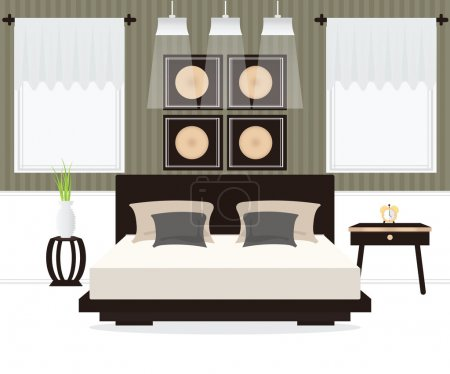 Illustration for Flat Design Double Bedroom, Bedroom interior,conceptual Vector illustration. - Royalty Free Image