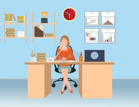 Illustration pour Femme d'affaires parlant au téléphone au bureau, Intérieur salle de bureau, illustration vectorielle conceptuelle . - image libre de droit