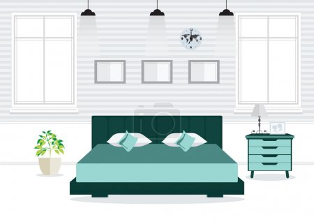 Illustration for Flat Design Double Bedroom with furniture, Bedroom interior, conceptual Vector illustration. - Royalty Free Image