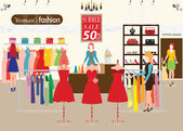 Einkaufen in einem Bekleidungsgeschäft mit Dummies zeigen Frauen