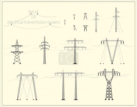 Set of fourteen high voltage power lines