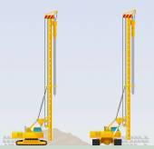 Piling machine before clogging piles