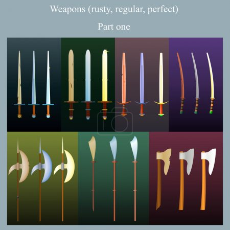 Illustration for The set of bladed weapons in three states (rusty, new, perfect) - Royalty Free Image