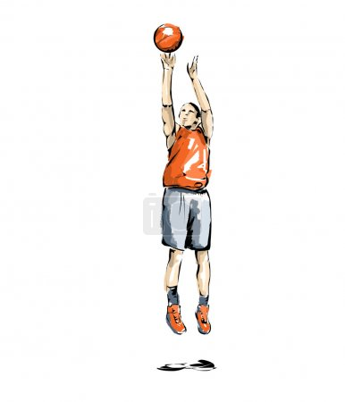 basketball illustration, athlete who practices sports