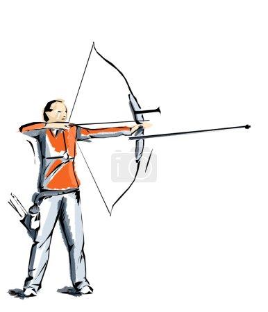 Archery illustration, athlete who practices sports