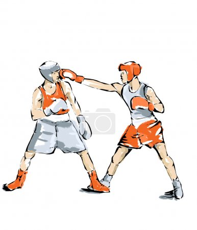 Boxing illustration athlete who practices