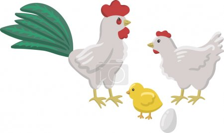 Isolated funny drawn happy white cock with a red cockscomb and green tail, white chicken with red cockscomb, cute yellow chick and a fresh egg