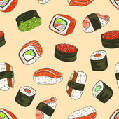 Seamless background with a pattern of Philadelphia roll with caviar crab avocado cucumber and salmon sushi with hiyashi wakame sushi with eel with red caviar with a shrimp roll California
