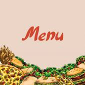 Cover for menu Fast food Burgers french fries sandwiches wraps pita pizza salad