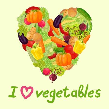 """Illustration pour Légumes frais du jardin. Carotte, chou, pois verts, poivrons, chili, citrouille, courgette, radis, maïs, aubergine, tomate, oignon, betterave, concombre, pomme de terre. L'inscription """"J'aime les légumes ."""" - image libre de droit"""