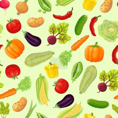 Illustration pour Fond sans couture avec un motif de légumes mûrs du jardin. Carotte, chou, pois verts, poivrons, chili, citrouille, courgette, radis, maïs, aubergine, tomate, oignon, betterave, concombre, pomme de terre - image libre de droit