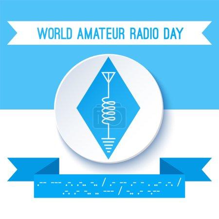 World Amateur Radio Day. Ham radio symbol, circuit diagram with antenna, inductor and ground. Morse code.