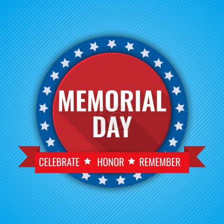 Memorial Day background. Vector illustration with text, stars and ribbon for posters, flyers, decoration. White text with long shadows.