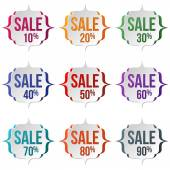 Set of sale labels on a white background Sale discount theme