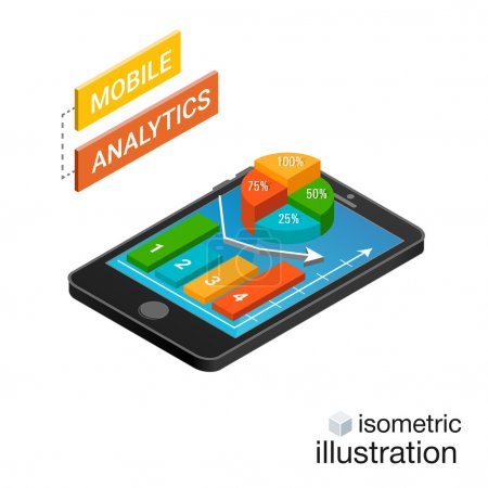 3D Smartphone with graphs in the isometric projection isolated on a white background. Mobile analytics concept. Modern infographic template. Isometric vector illustration.