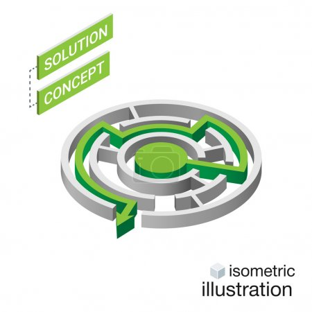 Isometric maze, labyrinth solution concept. Modern infographic template. Isometric vector illustration