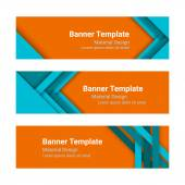 Set of modern colorful horizontal vector banners in a material design style Can be used as a business template or in a web design Vector illustration