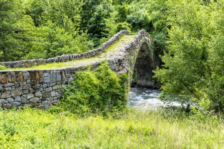 Old Stone bridge  in summer - Pyrenees. Andorra la Vella. Andorr