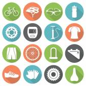 Set of bicycle parts and sport equipment icons in flat style