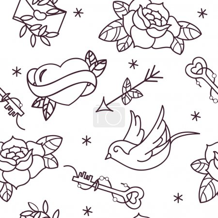 Old school tattoo vector seamless pattern with roses, hearts, birds, keys and arrows. Valentines day or wedding design.