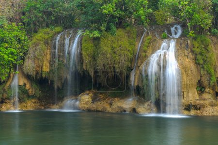 Sai Yok waterfall in  Thailand between winter.