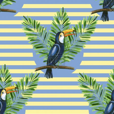 Toucan and banana leaves on the stiped background seamless pattern.