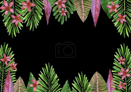 Tropical background horizontal. Summer pattern. Tropical flowers