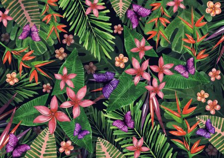 Tropical flowers pattern of exotic flower and plants. Realistic