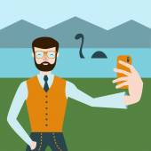 Cartoon style man make selfie with Loch Ness monster on the background. Hipster make selfie flat design style. Funny vector illustration with Nessie monster.