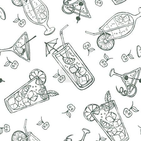 Illustration pour Modèle de cocktail doodle sans couture. Fond de couleur pastel avec jus, cocktails et fruits . - image libre de droit