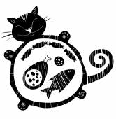 Funny vector  cat full of food  Sleeping  funny fat cat Happy cat silhouette