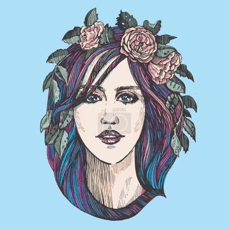 Illustration pour Belle femme avec des roses couronne. - image libre de droit