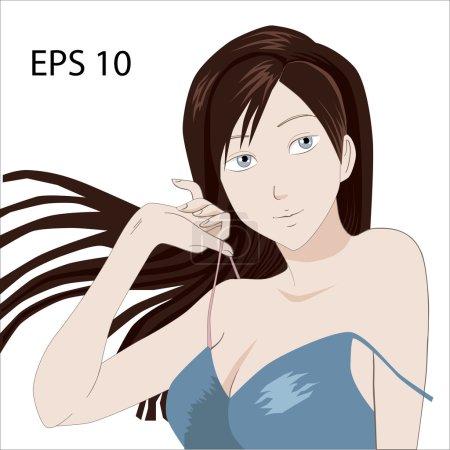 Anime Manga Sexy Girl vector illustration. Seductive Woman with cat's ears isolated on white background. Big Beautiful Eyes. Japanese Girl.