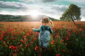 Dívka šla do pole máku