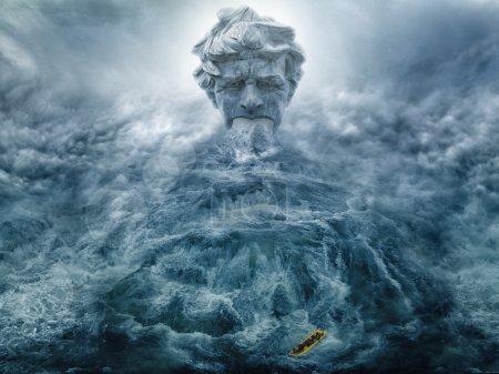 Poseidon creating waterfall