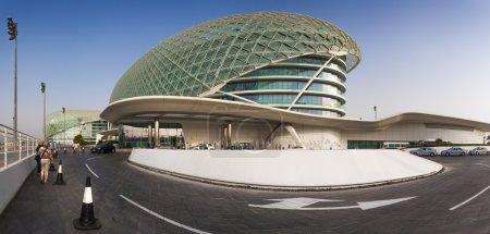 Abu Dhabi, UAE- May 13,2014: The Yas Circuit and Hotel - the iconic symbol of Abu Dhabi's Grand Prix.
