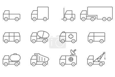 Transportation icons line