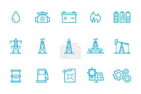 Illustration pour Icônes de carburant ligne, icône de carburant, icône de batterie - image libre de droit