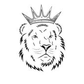 Lion head in crown - vector illustration
