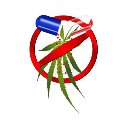 Pills with cannabis, prohibition sign on a white background