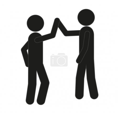 two friends or a businessman giving each other a high five. Vector.